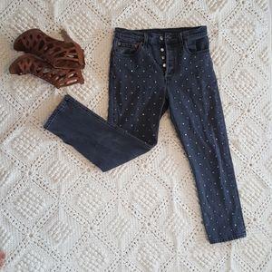 {Levi's} 501 Big E cropped premium studded jeans